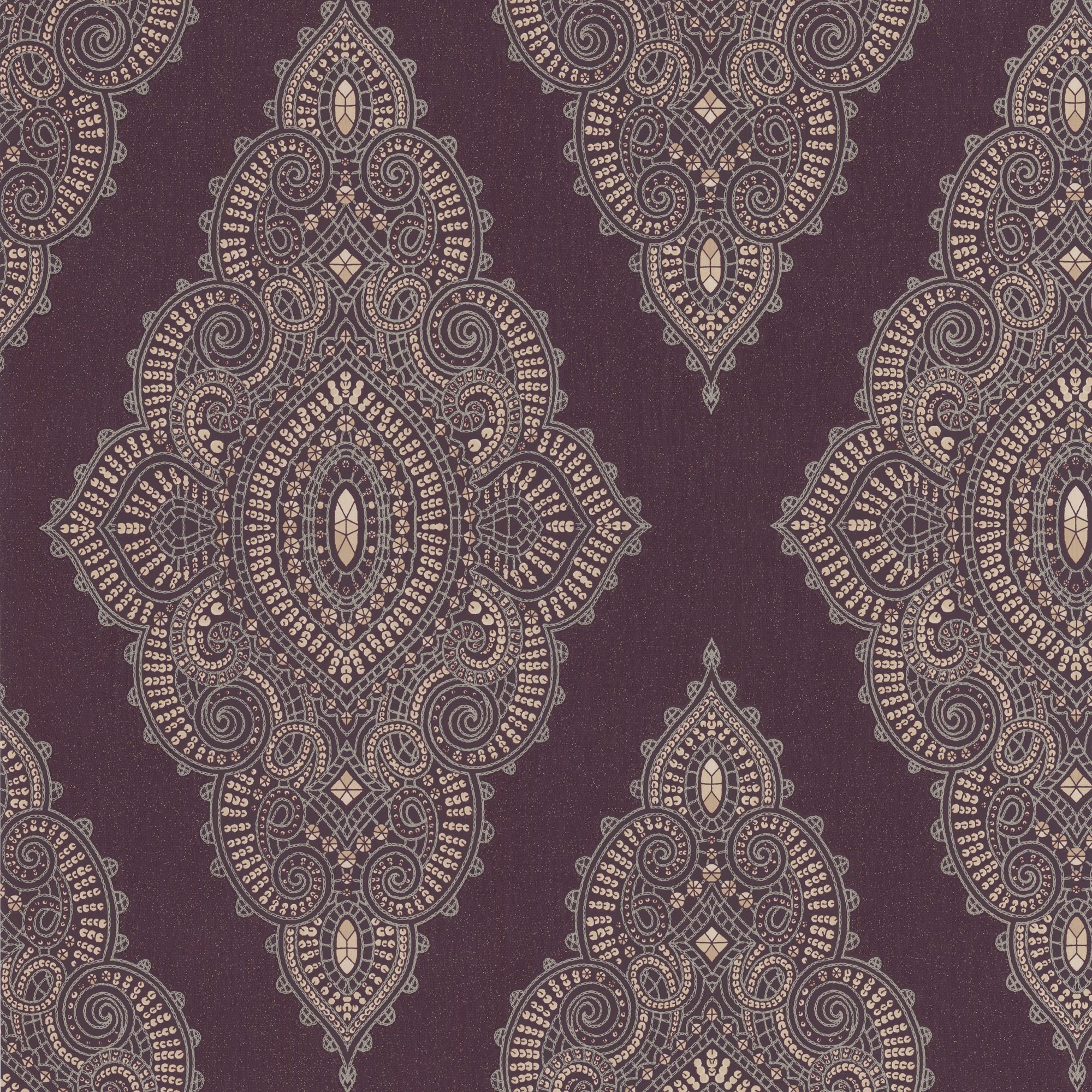 Graham Brown Jewel Damson Gold Lace Damask Sequin Effect Wallpaper