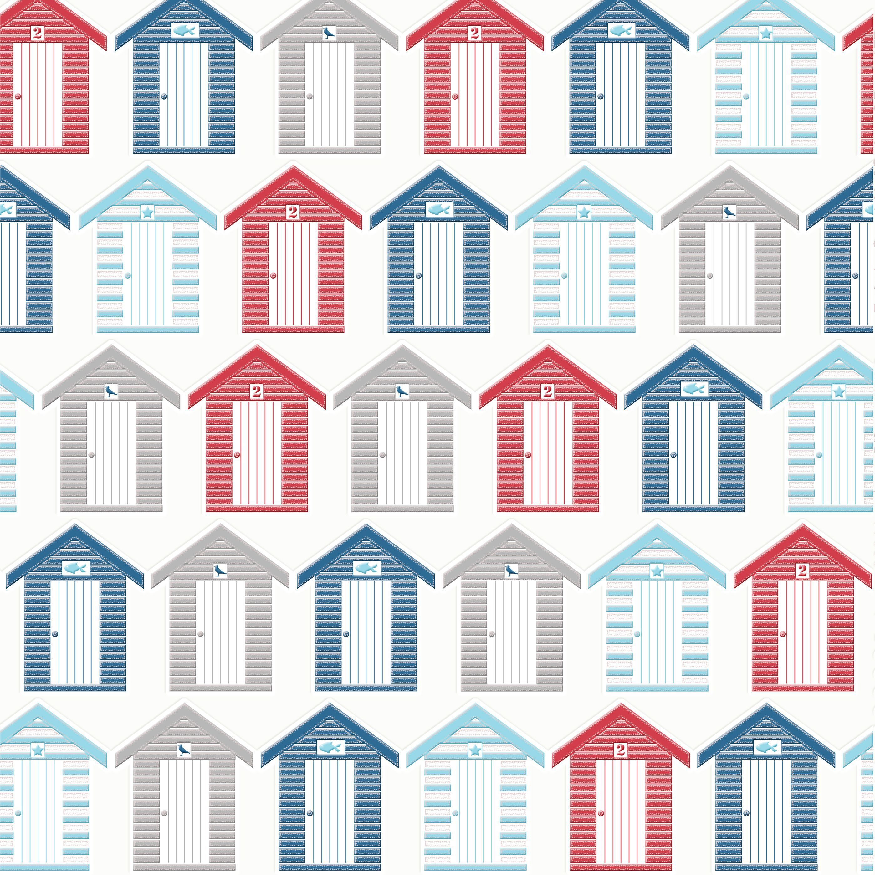 Graham Brown Contour Red Blue White Beside The Seaside Kitchen Bathroom Wallpaper Departments Diy At B Q