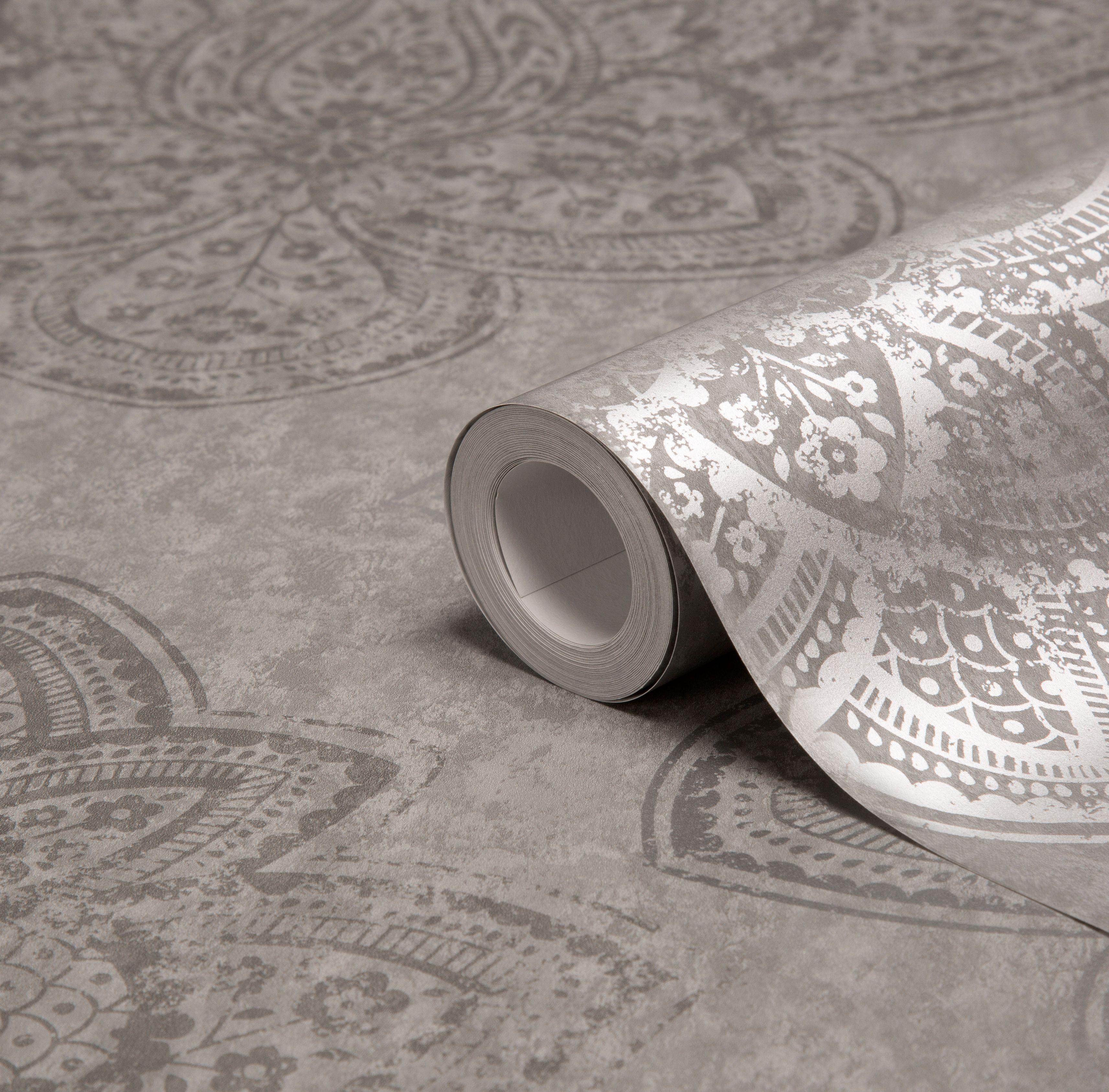 Kitchen Wallpaper B And Q: Graham & Brown Treasure Marcasite Damask Metallic