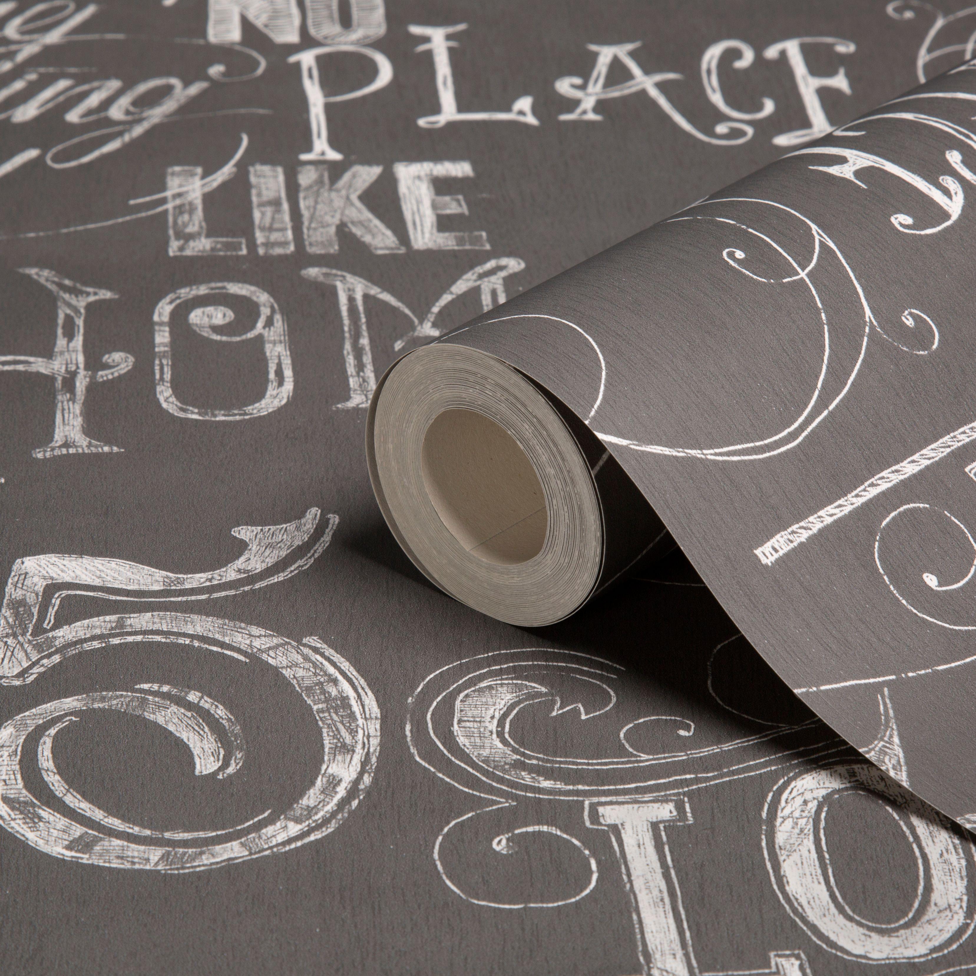 graham brown fresco grey calligraphy wallpaper. Black Bedroom Furniture Sets. Home Design Ideas
