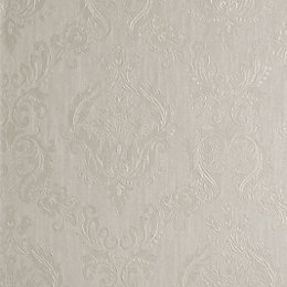 Graham & Brown Superfresco Colours Cream Damask Wallpaper