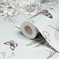 Graham & Brown Fresco Blue Flowers, birds & butterflies Wallpaper