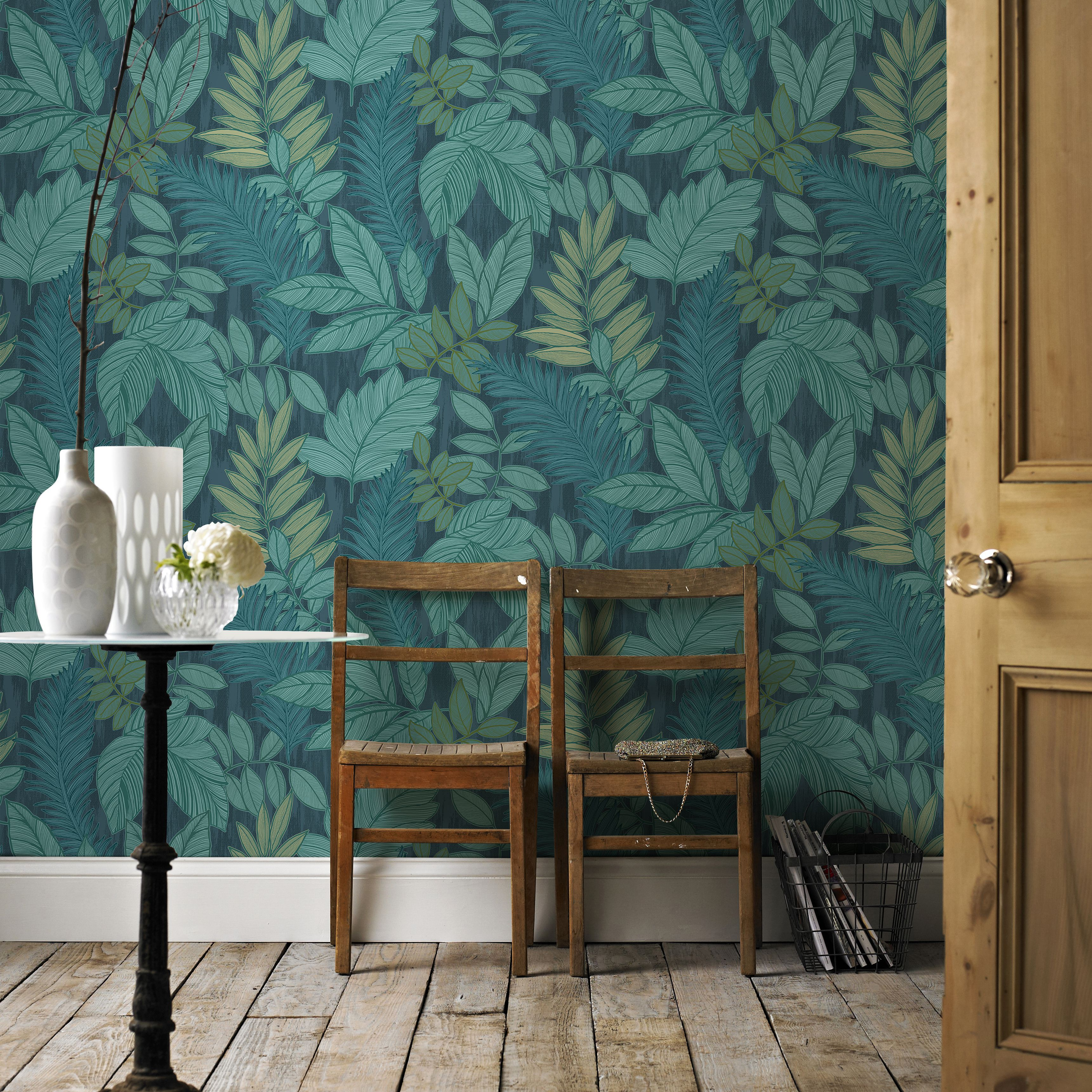 Graham brown tropical storm green blue foliage for Home 3d wallpaper wallcovering