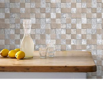 Graham & Brown contour beige natural stone tile kitchen and bathroom wallpaper