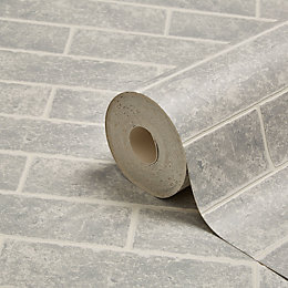 Graham & Brown Contour Grey Small brick Wallpaper