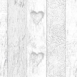 Fresco Grey Wood Effect Smooth Finish Wallpaper