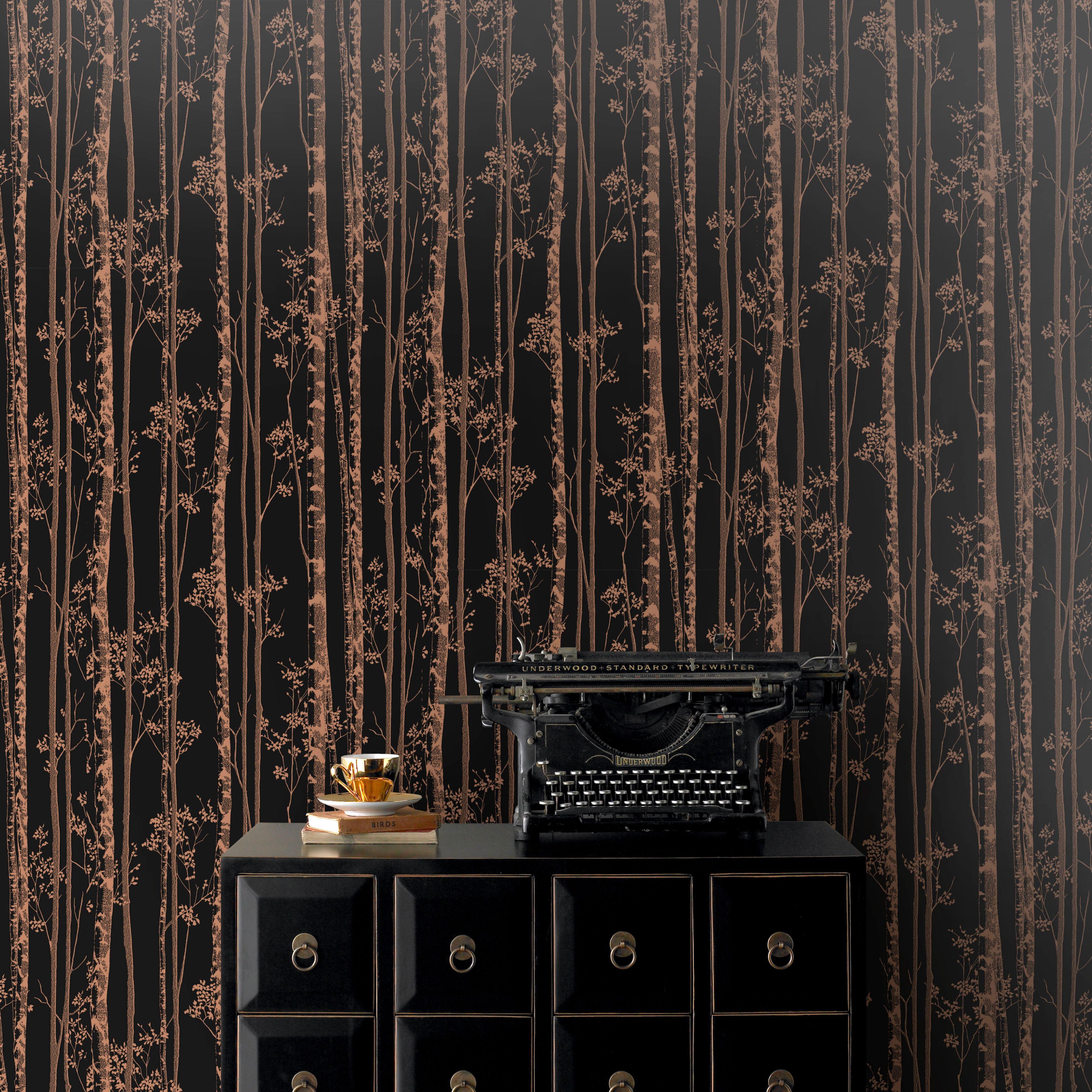 Pure black copper linden metallic effect wallpaper B q bathroom design service