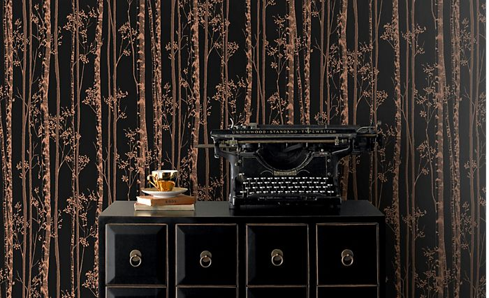 Pure black and copper linden wallpaper