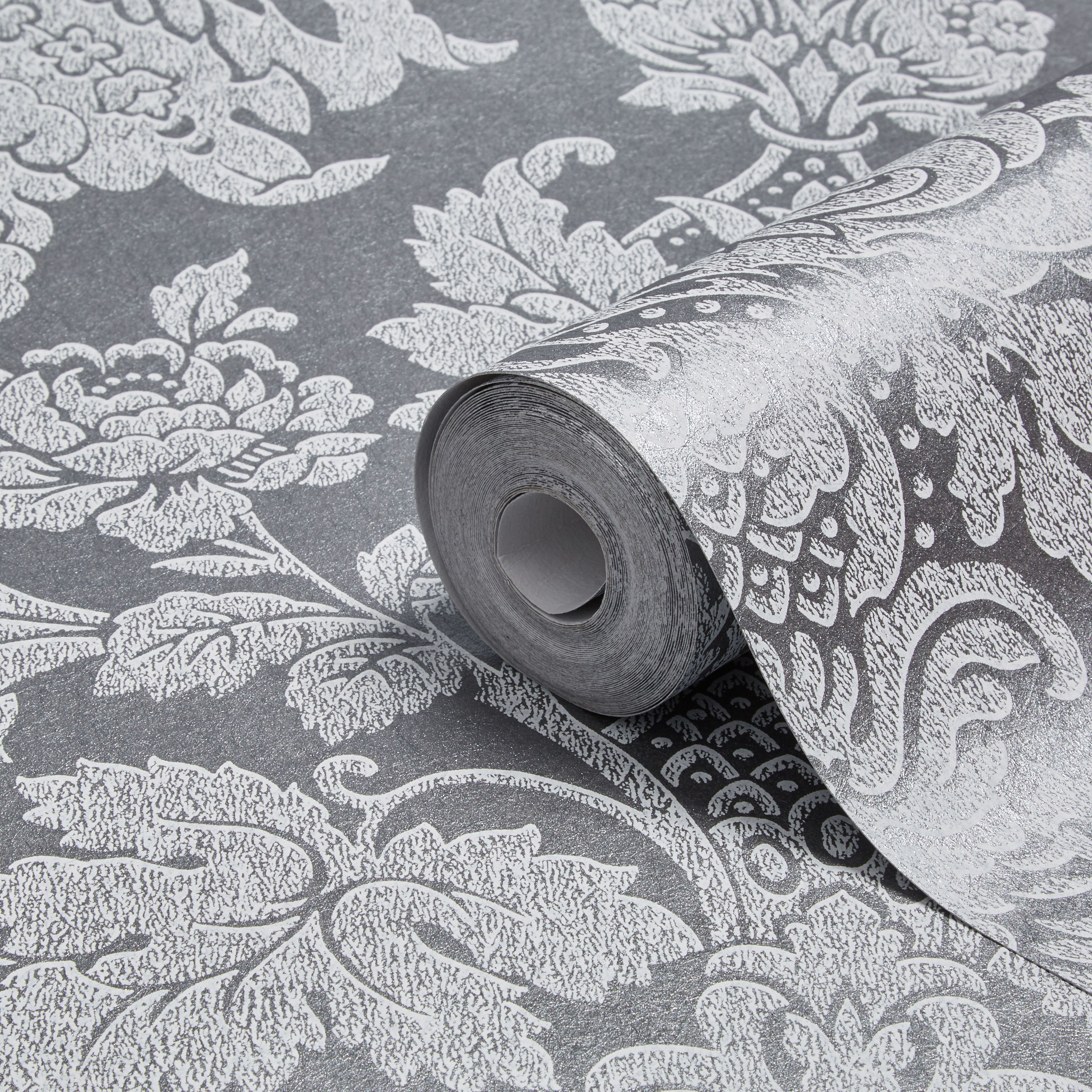 Graham Brown Fibrous Buckingham Silver Effect Wallpaper