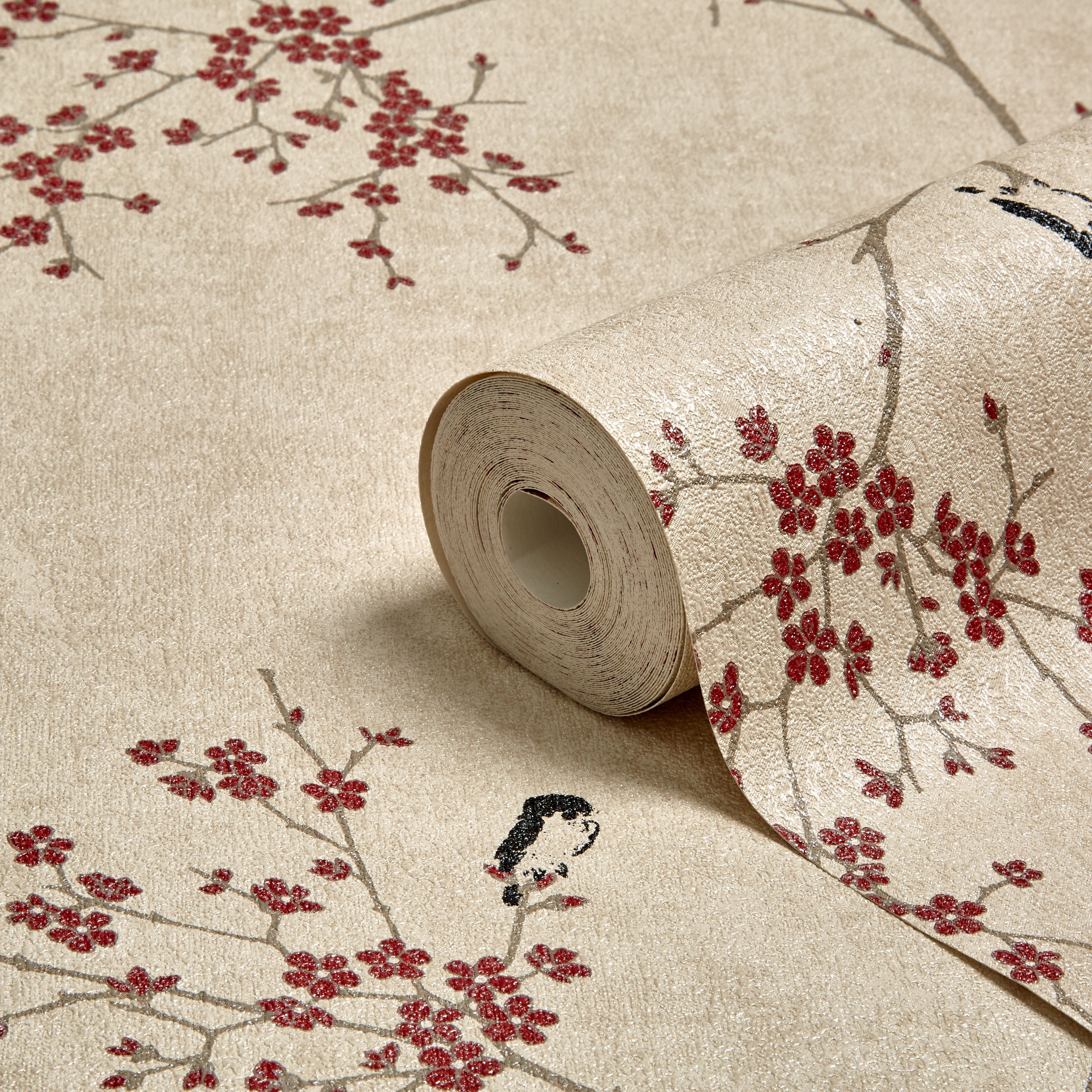 Graham Amp Brown Beige Amp Red Oriental Blossom Wallpaper