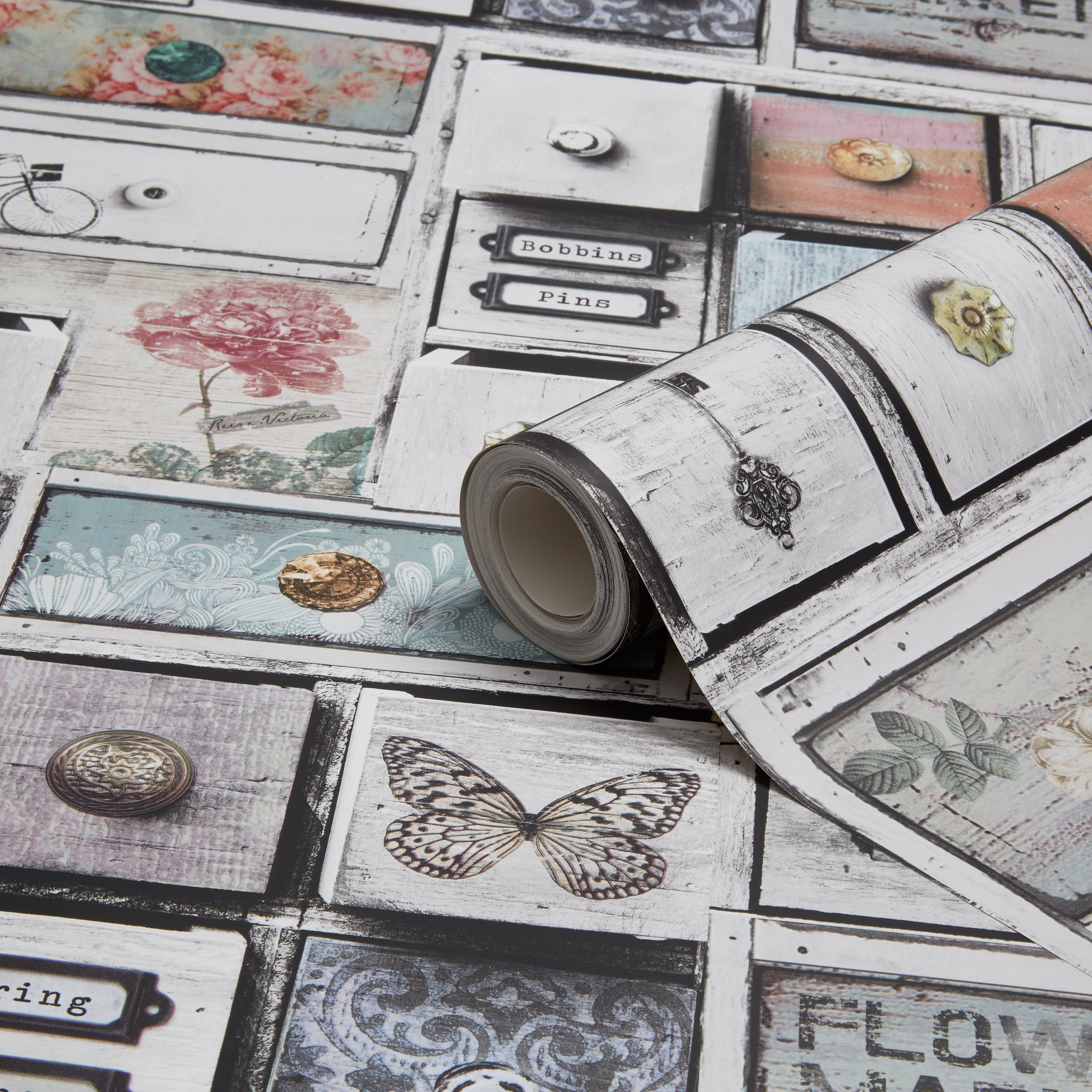 Graham Amp Brown Fresco Apothecary Drawers Wallpaper