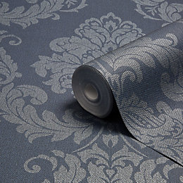 Graham & Brown Gothica Navy & Silver Damask
