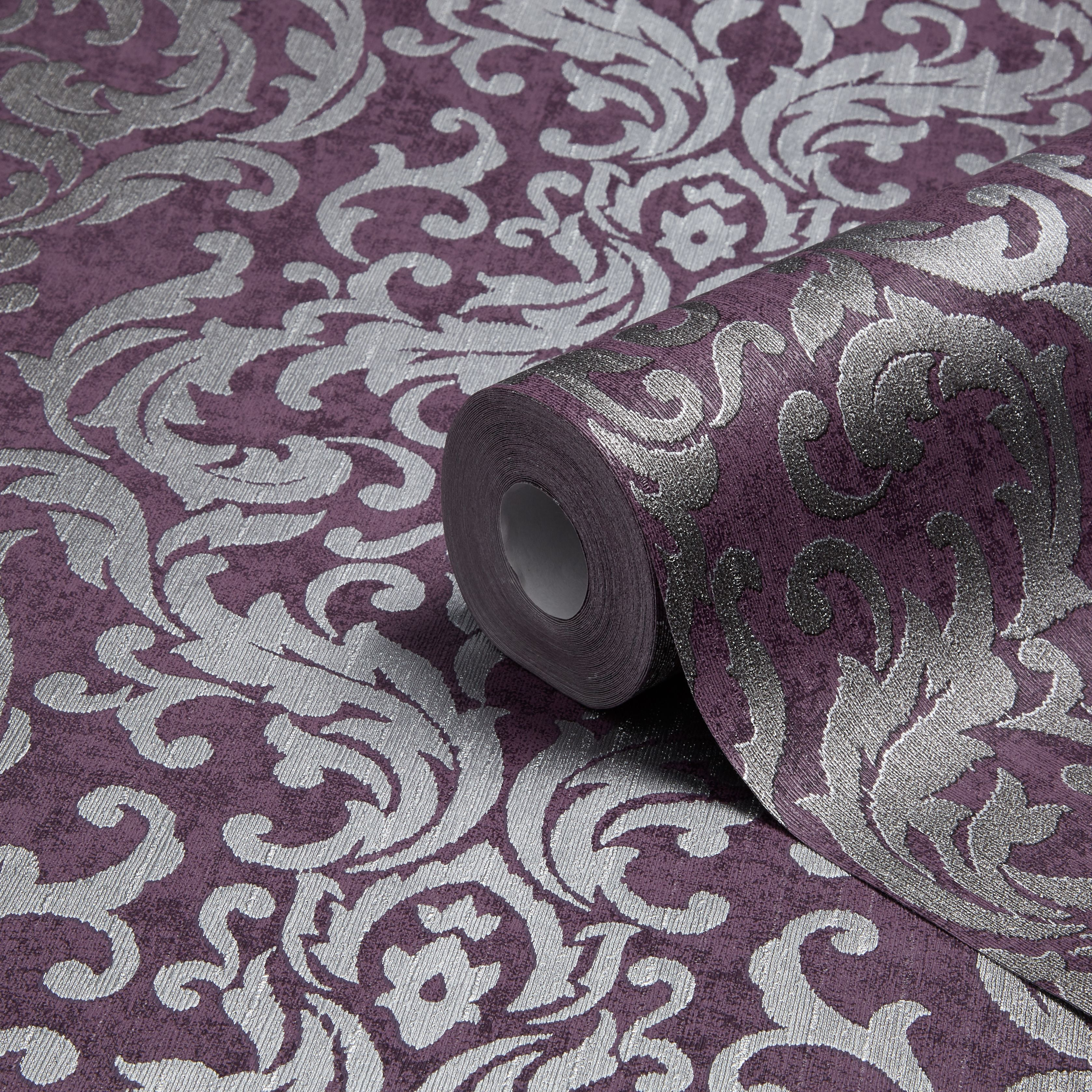 Graham Amp Brown Drama Purple Damask Metallic Wallpaper