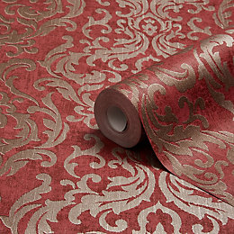 Graham & Brown Drama Red Damask Wallpaper