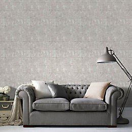 Graham & Brown Neutral Mason Metallic Effect Wallpaper