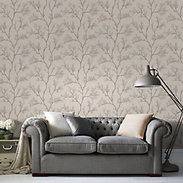 Cream & gold Icy trees Glitter effect Wallpaper