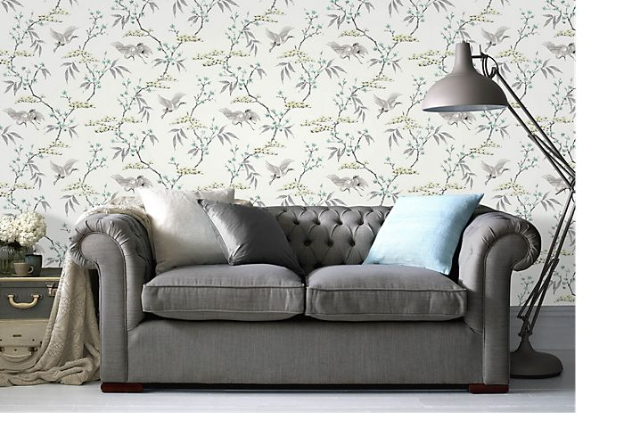 Superfresco eau de nil majestic crane wallpaper