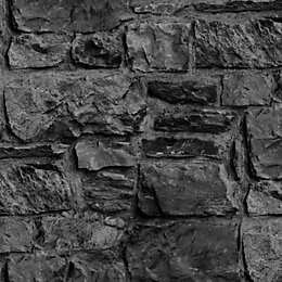 Graham & Brown Charcoal Stone wall Wallpaper