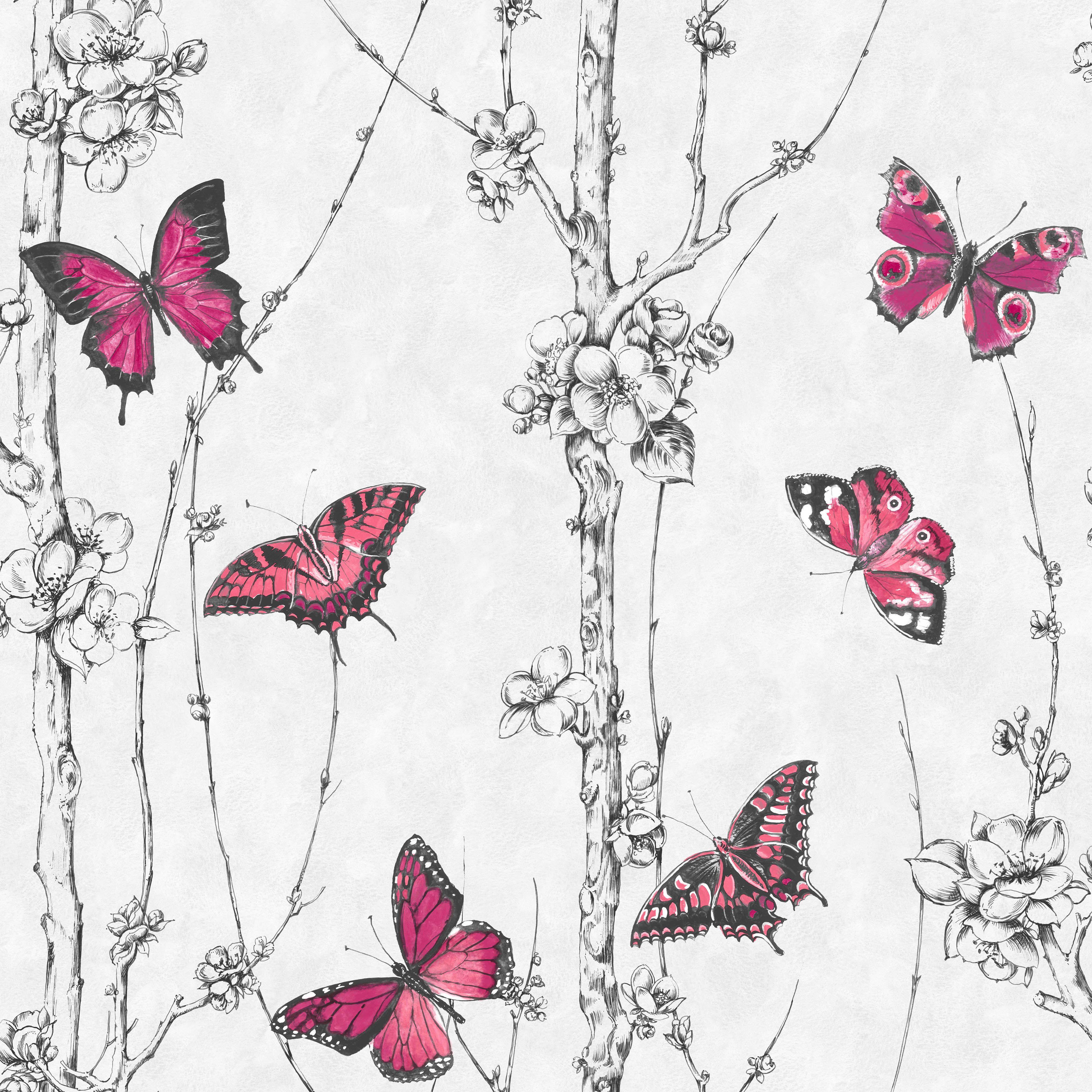 Graham Amp Brown Fresco Pink Amp White Butterflies Amp Trees