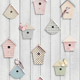 Graham & Brown Fresco Bird Boxes Wallpaper