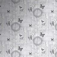 Fresco Charcoal Butterfly Wallpaper