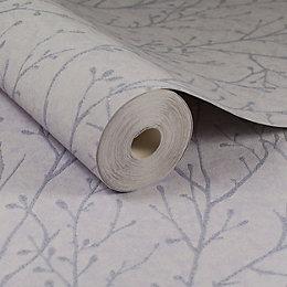 Lilac Grey Plain & Texture Glitter Effect Wallpaper