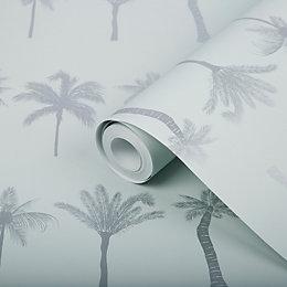 Superfresco Easy Nikau Mint green Tree Metallic Wallpaper