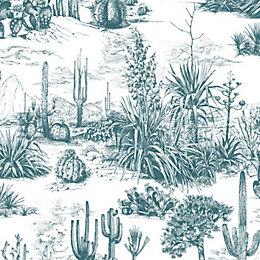 Fresco Arizona Teal Cacti Wallpaper