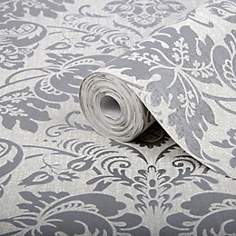 Superfresco Easy Como Silver Damask Glitter effect Wallpaper