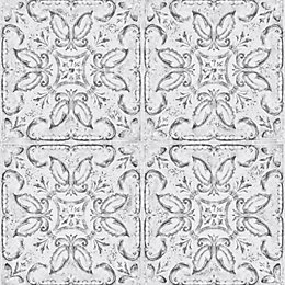 Contour White Vintage tin tile Metallic effect Wallpaper