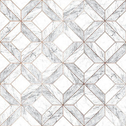 Contour Grey Marble marquetry Wallpaper