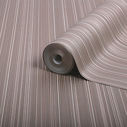 Boutique Palma Rose gold effect Striped Metallic Wallpaper