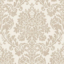 Audley Gold Damask Glitter effect Wallpaper