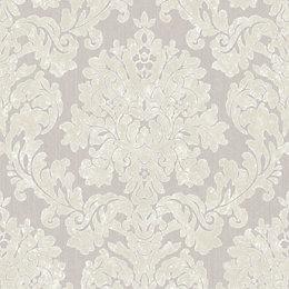 Super Fresco Audley Silver Damask Glitter Effect Wallpaper