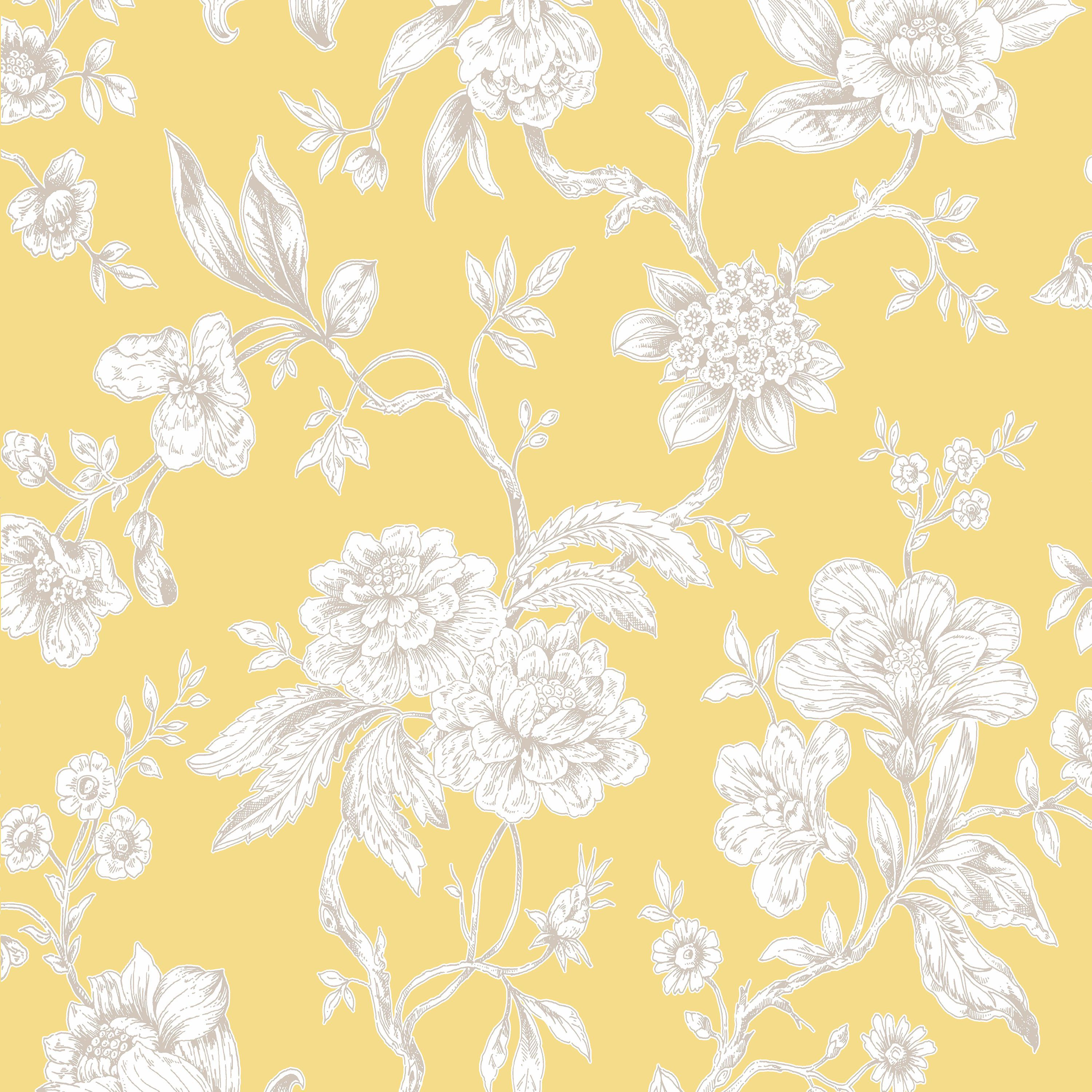 Boutique Meadow Land Yellow Floral Metallic Effect Smooth