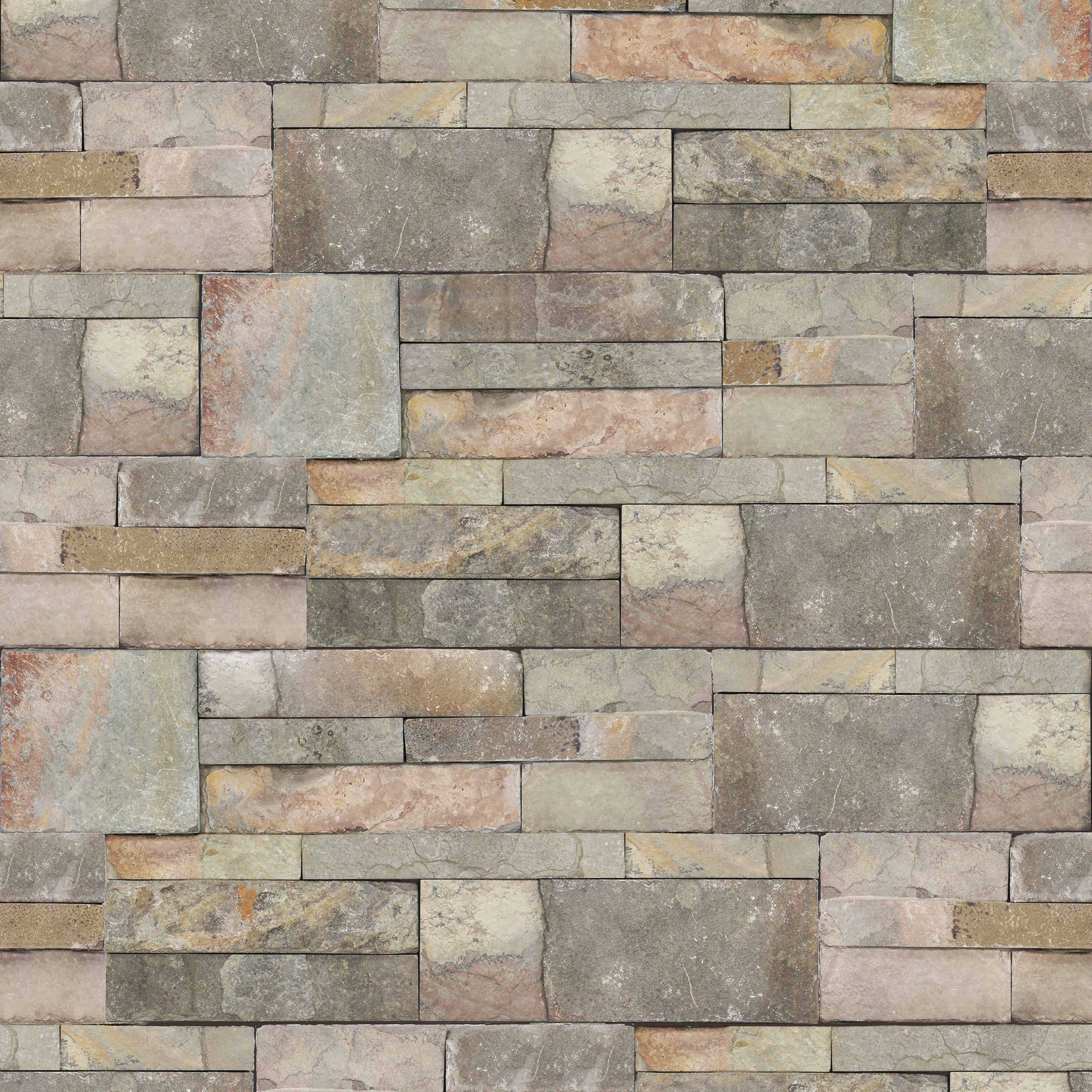 Cornish Stone Effect Wallpaper From B Q: Contour Stone Sandstone Brick Wallpaper