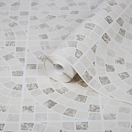 Contour Calcada Cream Mosaic tile Wallpaper