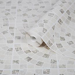 Contour Calcada Cream Mosaic Tile Wallpaper