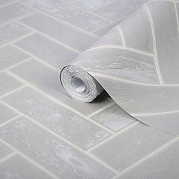 Contour Lustro Silver Herringbone Brick Wallpaper
