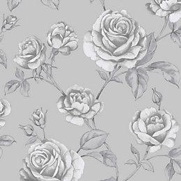 Graham & Brown Boutique Silver effect Floral Metallic