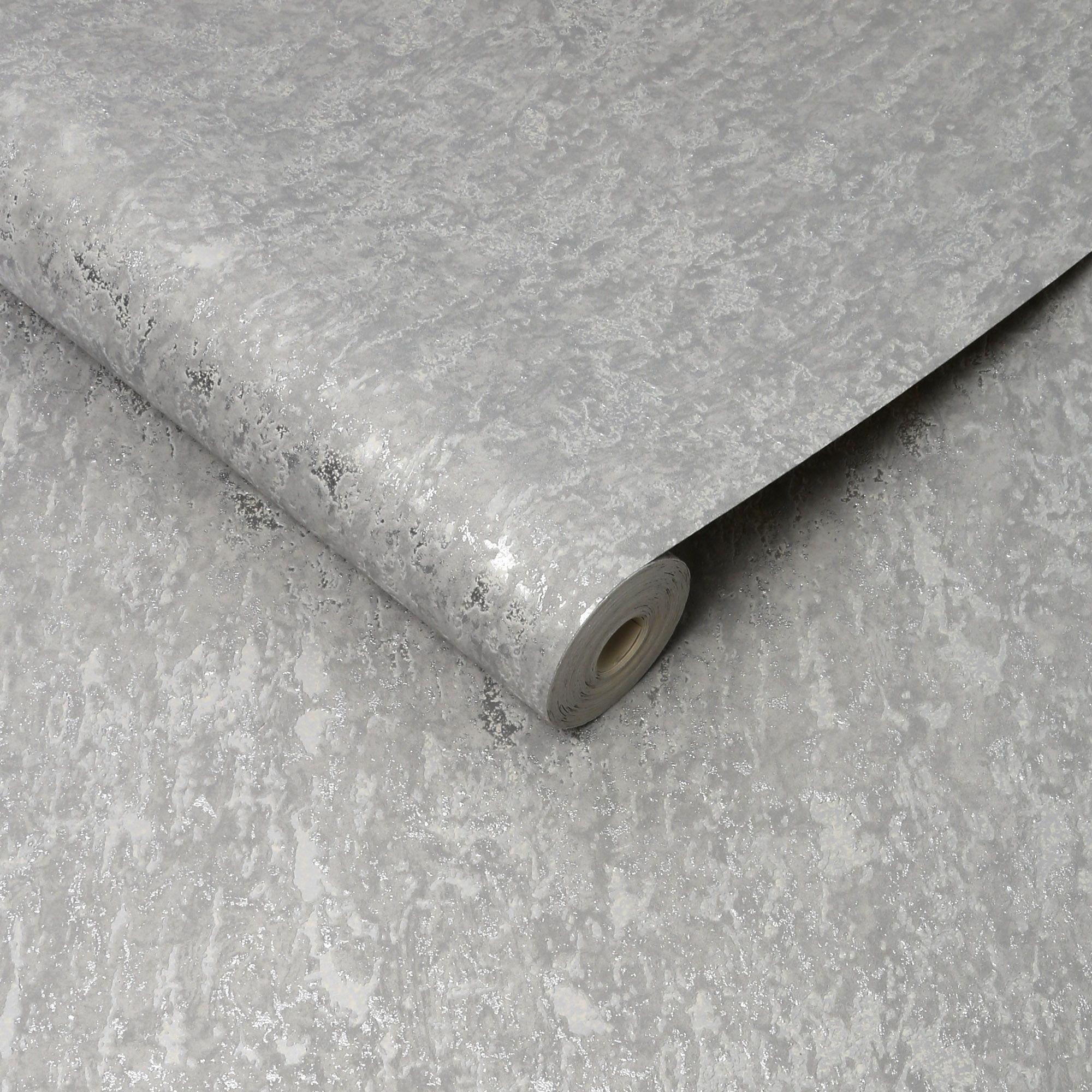 Boutique Silver Effect Textured Wallpaper Departments Diy At B Q