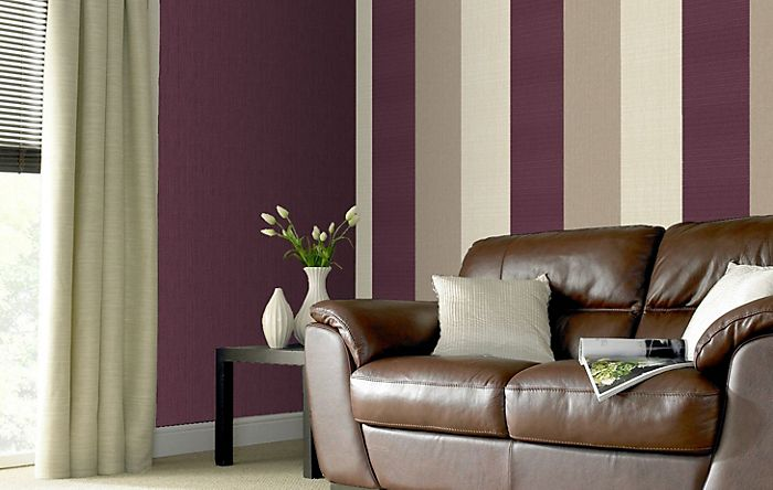 Graham & Brown superfresco plum stripe wallpaper