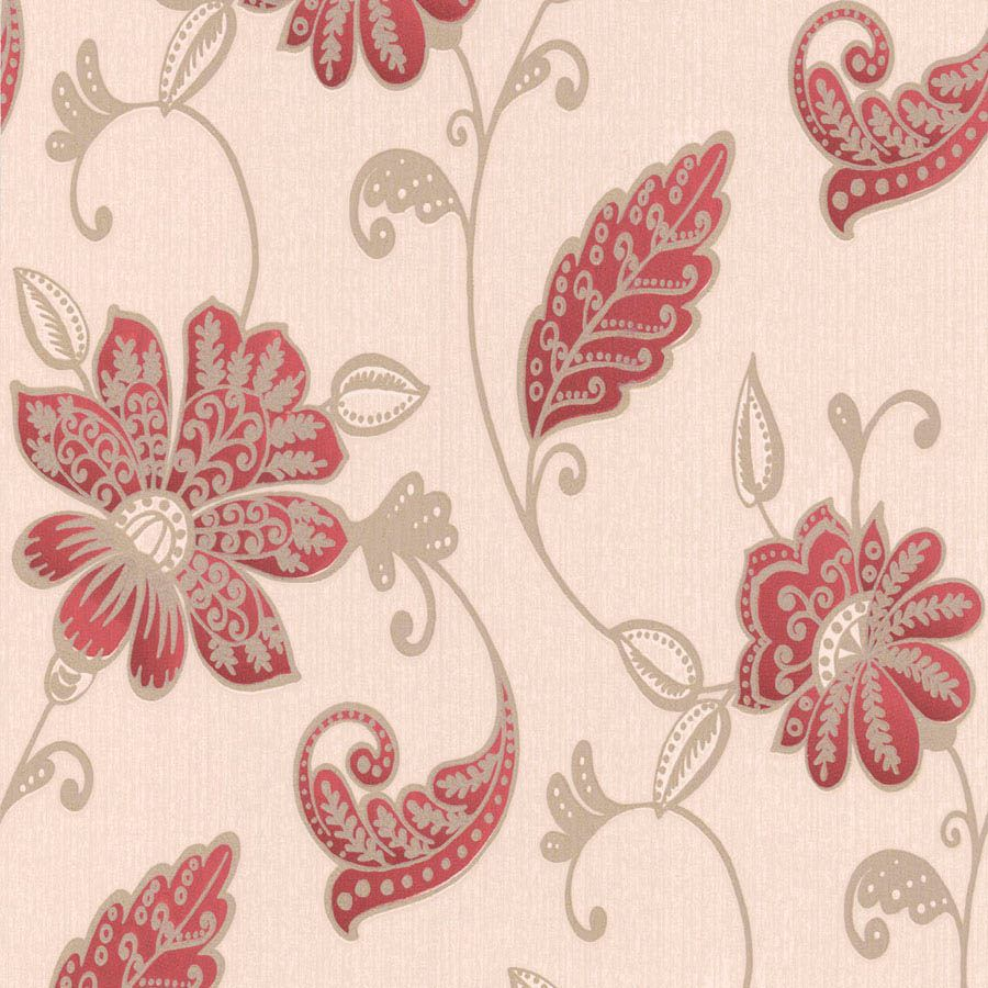 Graham Brown Superfresco Red Floral Wallpaper Departments DIY