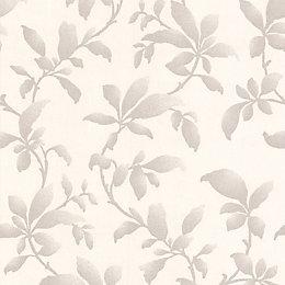 Graham & Brown Sarra Silver Leaves Metallic Wallpaper