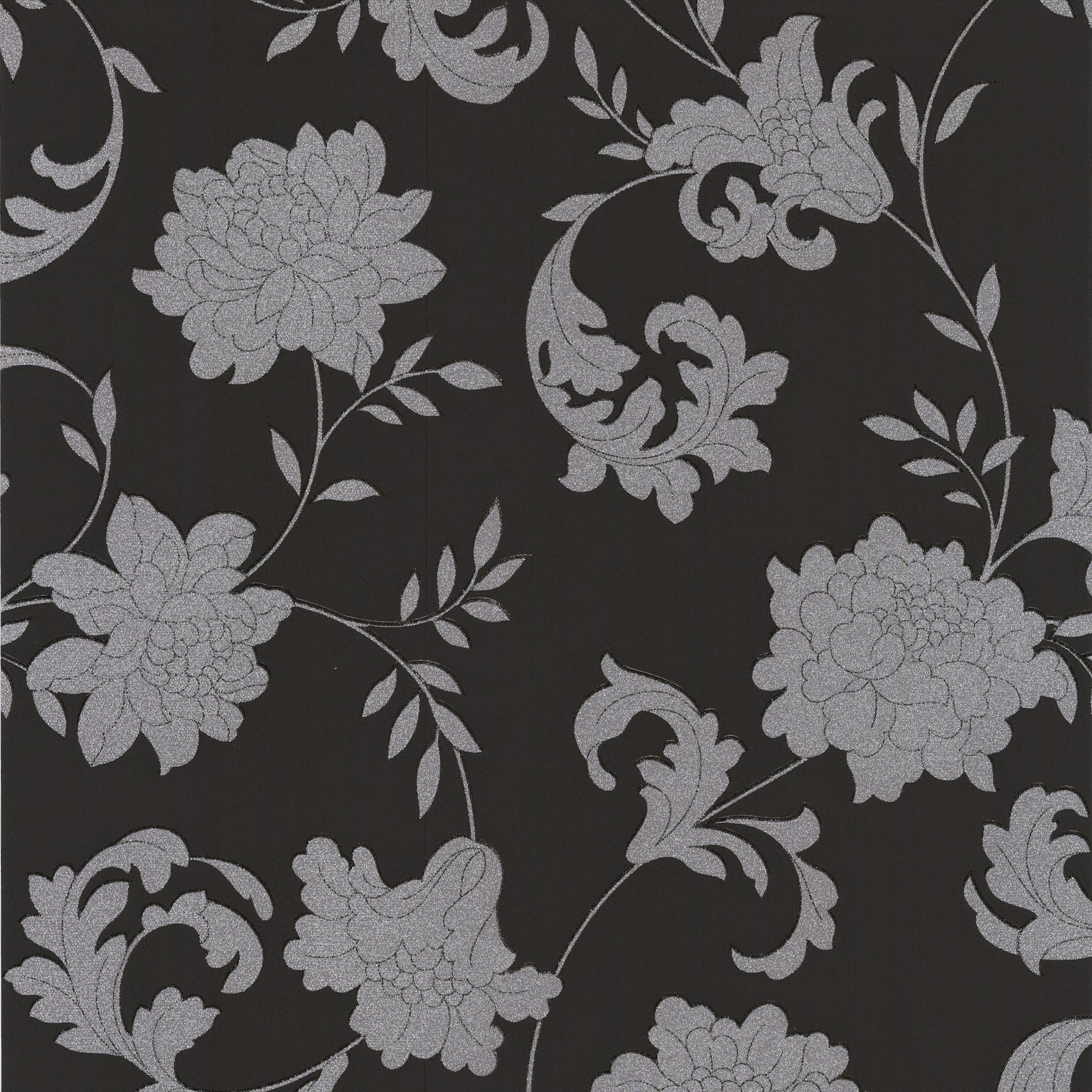 Kitchen Wallpaper B And Q: Laurence Llewelyn-Bowen Silks Black & Silver Floral