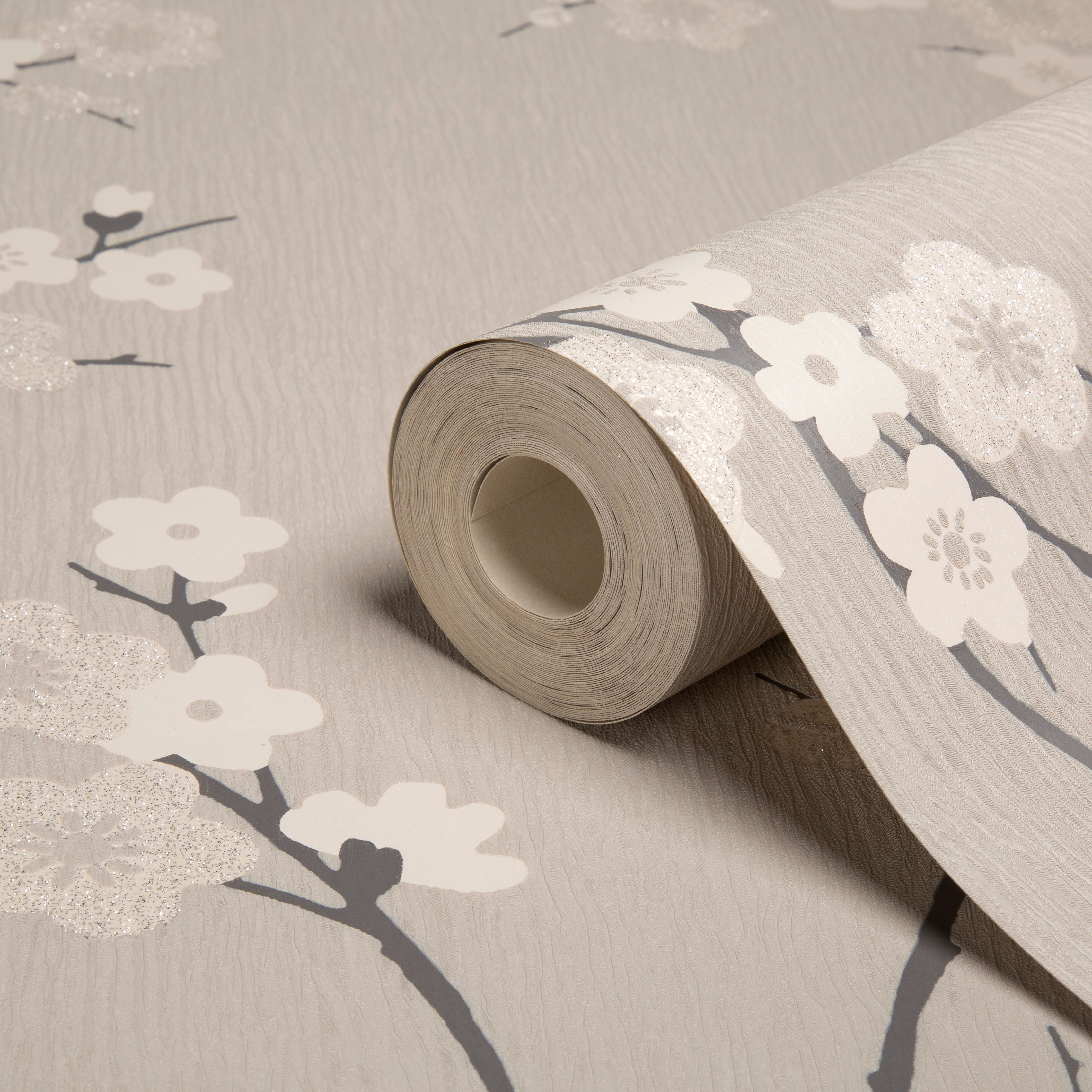 Graham Brown Superfresco Charcoal Taupe Floral Wallpaper