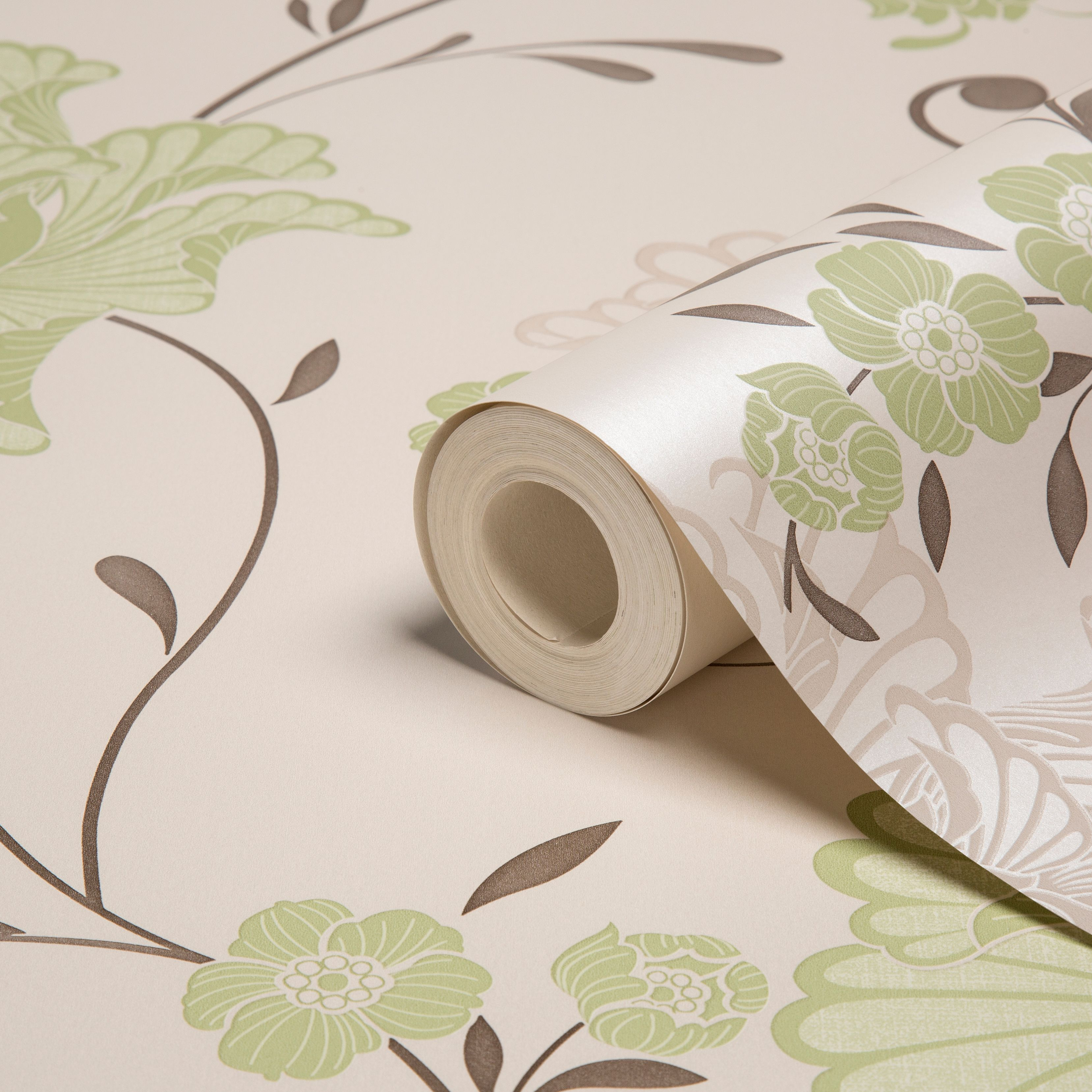 Laurence Llewelyn-Bowen Taffetia Spring green Floral Wallpaper | Departments | DIY at B&Q