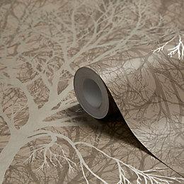 Graham & Brown Enchant Golden Brown Trees Wallpaper