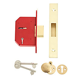 Union 64mm Brass Effect 5 Lever Mortice Deadlock