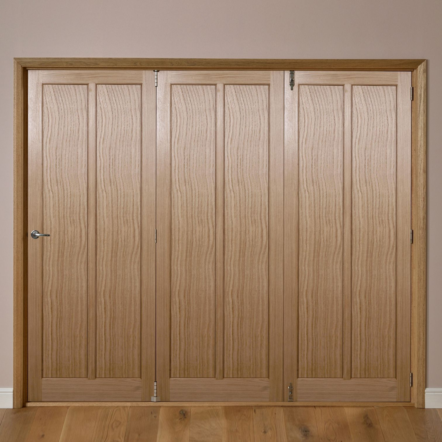 Carron 2 panel oak veneer internal folding door rh h for Wood veneer garage doors
